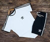 Спортивный костюм мужской Adidas Шорты + Футболка   Комплект мужской летний Адидас черно-белый ЛЮКС качества
