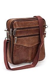 Мужская сумка барсетка коричневая кожаная (09-98)