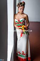 Платье с вышивкой маками, свадебное