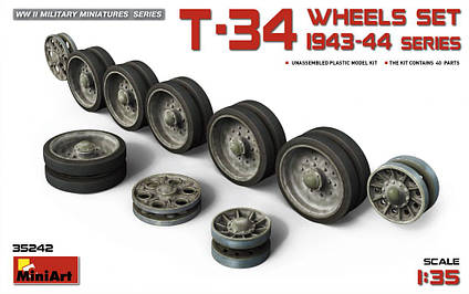 Набор катков для танка Т-34. 1943-44 гг. выпусков.1/35 MINIART 35242, фото 2