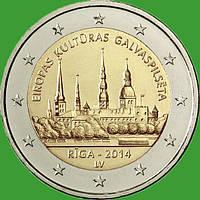 Латвія 2 євро 2014 р. Рига - культурна столиця Європи. UNC