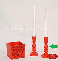 Подсвечник деревянный фигурный красный 14 см