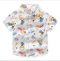Рубашка Космос к/р (бел) 100,120,130,140,150