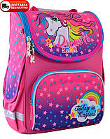 Рюкзак школьный для девочки каркасный SMART 555902  PG-11 Unicorn