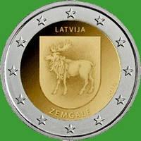 Латвия 2 евро 2018 г. Историческая область Земгале . UNC