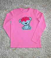 Детская стильная  хлопковая футболка с длинным рукавом для девочек с мишкой