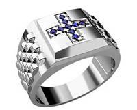Кольцо серебряное православное Крест 30107