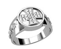 Кольцо серебряное православное Крест 30113