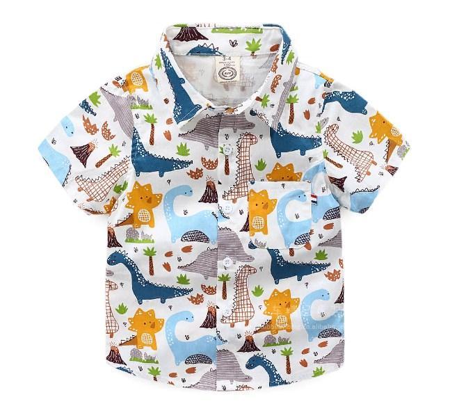Рубашка Динозавры к/р (цветная) 150