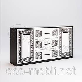 Комод 2Д3Ш 1.6 м. у вітальню Віола Білий Глянець - Чорний Мат Міромарк