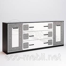 Комод 2Д3Ш 2.0 м. у вітальню Віола Білий Глянець - Чорний Мат Міромарк