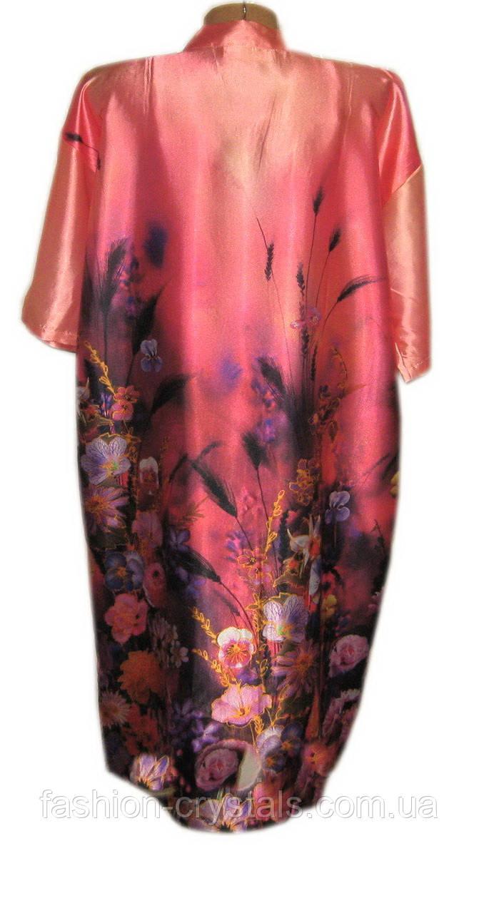 Шелковый комплект халат с ночной рубашкой 3D рисунок