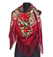 Народный платок Анна, 140х140 см, бордовый