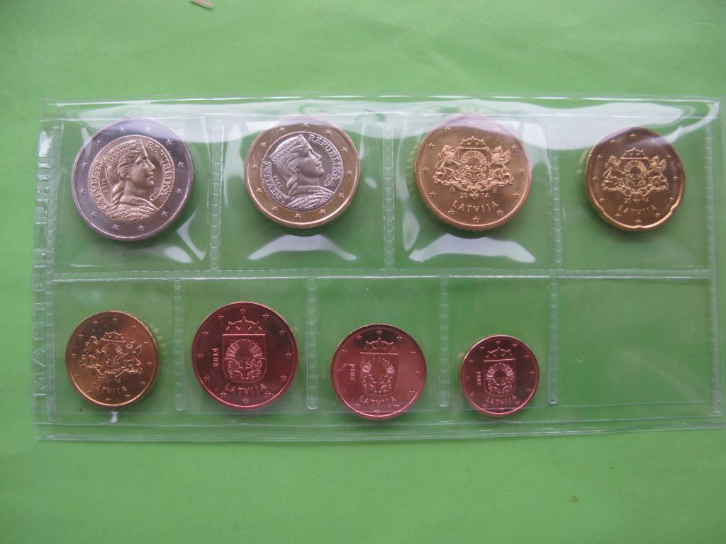 Латвія, набір монет євро 2014 р , UNC.