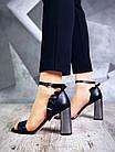 Женские босоножки черного цвета на высоком каблуке, из натуральной кожи 39 40 ПОСЛ. РАЗМЕРЫ, фото 5