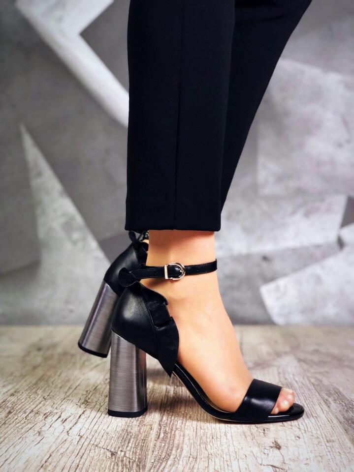 Женские босоножки черного цвета на высоком каблуке, из натуральной кожи 39 40 ПОСЛ. РАЗМЕРЫ
