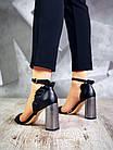 Женские босоножки черного цвета на высоком каблуке, из натуральной кожи 39 40 ПОСЛ. РАЗМЕРЫ, фото 6