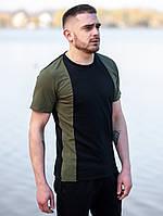 Мужская футболка BEZET Avant-garde black/khaki '19, мужская спортивная фуболка, черно-зеленая футболка, фото 1