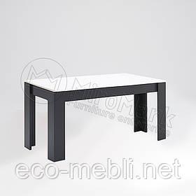 Стіл столовий 1600х950 у вітальню Віола Білий Глянець - Чорний Мат Міромарк