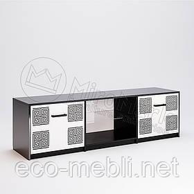 Тумба ТВ 2Д у вітальню Віола Білий Глянець - Чорний Мат Міромарк