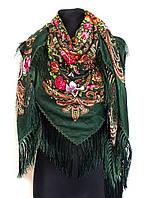 Народный платок Людмила, 135х135 см, зеленый