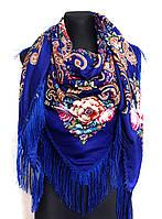 Народный платок Аника, 135х135 см, синий