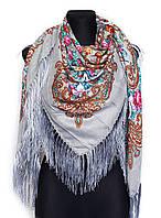 Народный платок Людмила, 135х135 см, серый