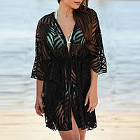 Туника халат женская пляжная черная