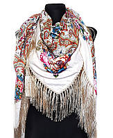 Народный платок Аника, 135х135 см, бежевый