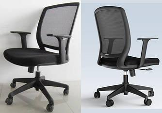Кресло офисное с подлокотниками и спинкой сеткой Enrandnepr Акцент черный