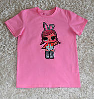 Детская стильная  хлопковая футболка для девочек с куклой L.O.L.