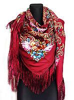 Народный платок Аника, 135х135 см, бордовый