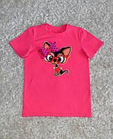 Детская стильная  хлопковая футболка для девочек с собачкой