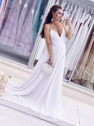 057444eb149 Белое длинное вечернее платье с пышной юбкой 42-44р - Цена 1 070 грн ...