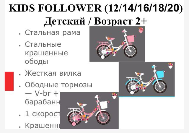Детский велосипед SPARK KIDS FOLLOWER сталь TV1201-003
