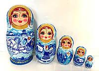 Матрешки Гжель 18 см большие, 5 мест, голубые и белые цвета, Тройка белых лошадей, креативный подарок, сувенир