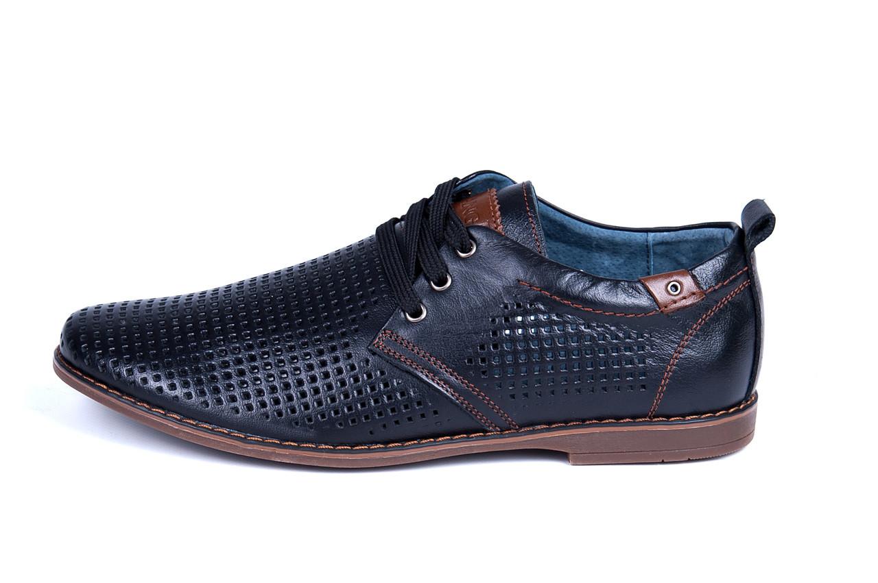 Мужские кожаные летние туфли, перфорация, KF black на шнурке р. 45
