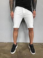 Стильные мужские шорты белые с черной полоской