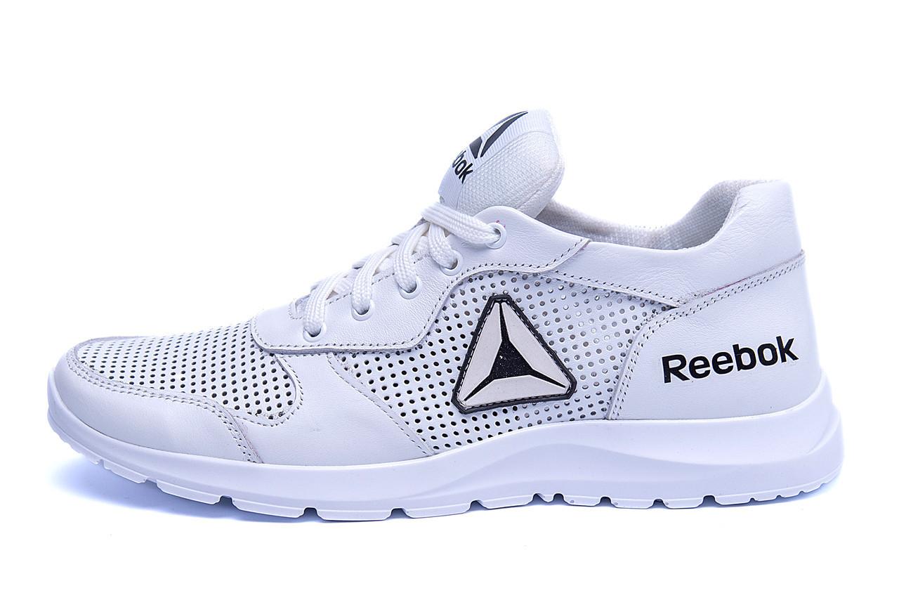 Мужские кожаные летние кроссовки, перфорация Reebok Classic  White (реплика) р. 40 41 42 43 44