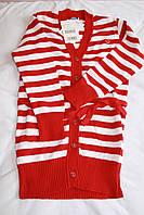 Вязаный кардиган для девочки, красная и белая полоски, Girandola, размер 128, 140