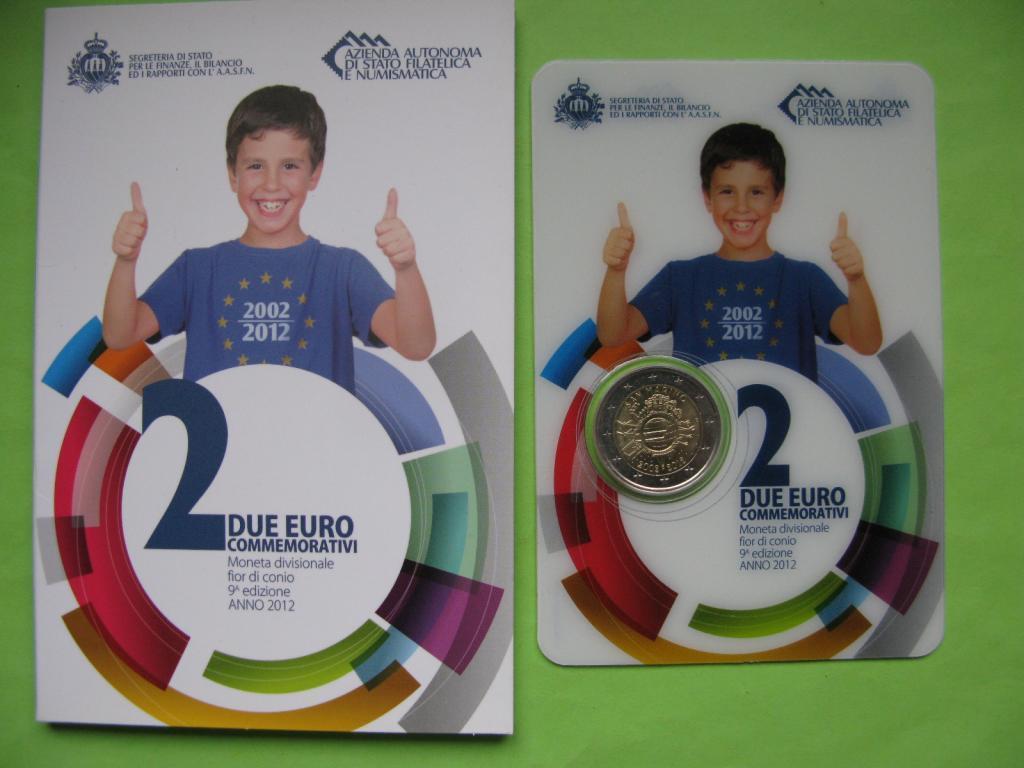 Сан Марино 2 евро 2012 г. 10 лет наличному евро.