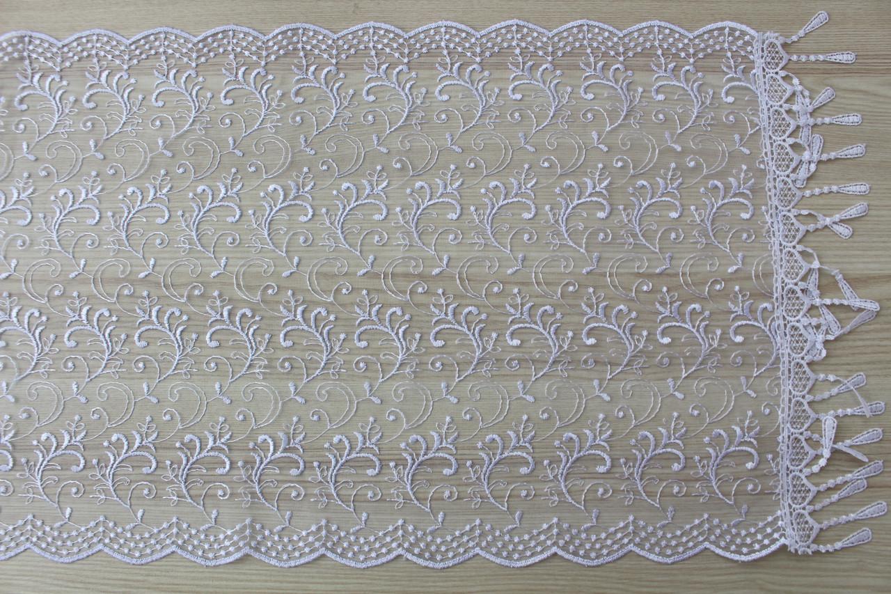 Шарф білий фатиновий ажурний святковий 150-15