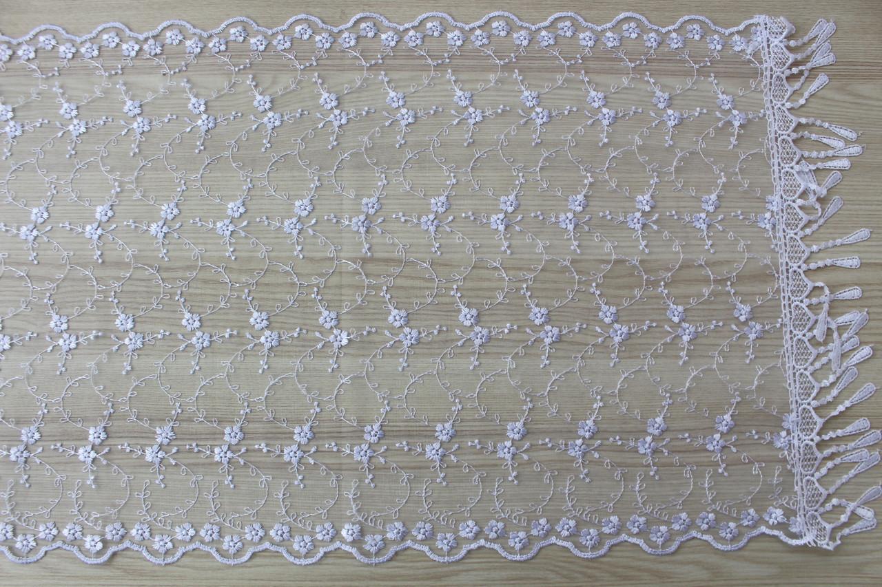 Шарф білий фатиновий ажурний святковий 150-13