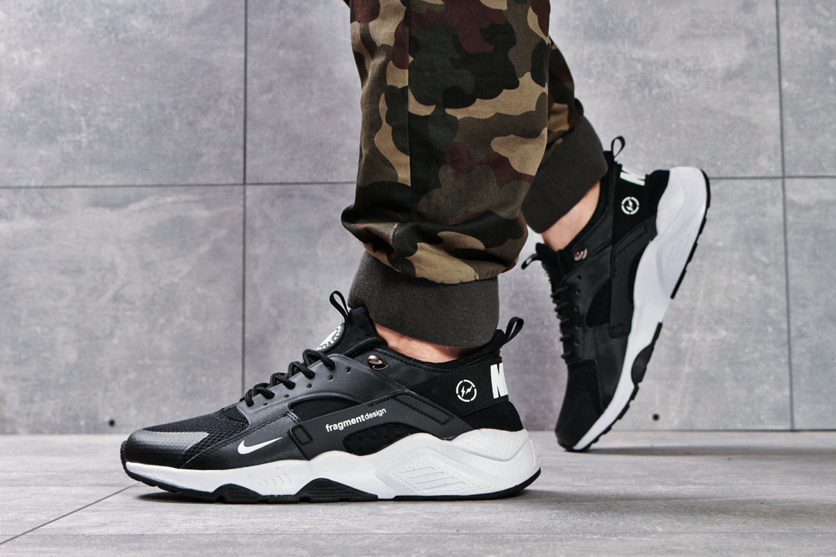 7931e128 Мужские кроссовки в стиле Nike Air Huarache, текстиль, пена, черные с белым  -