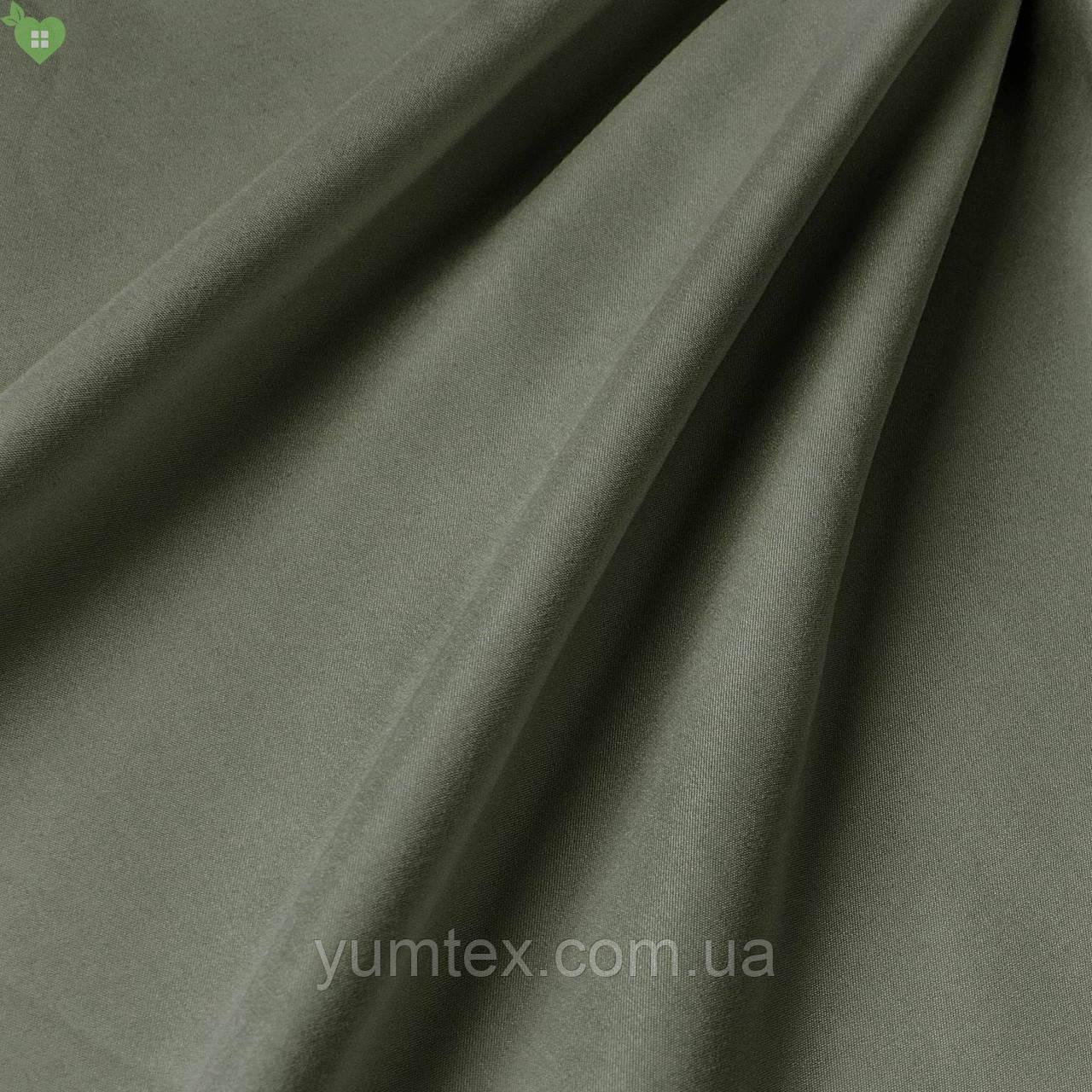 Подкладочная ткань матовая фактура темно-оливкового цвета без рисунка Испания