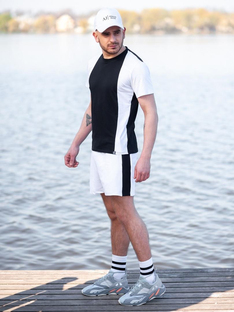 Мужской летний комплект BEZET (шорты+футболка), черно-белый мужской спортивный комплект