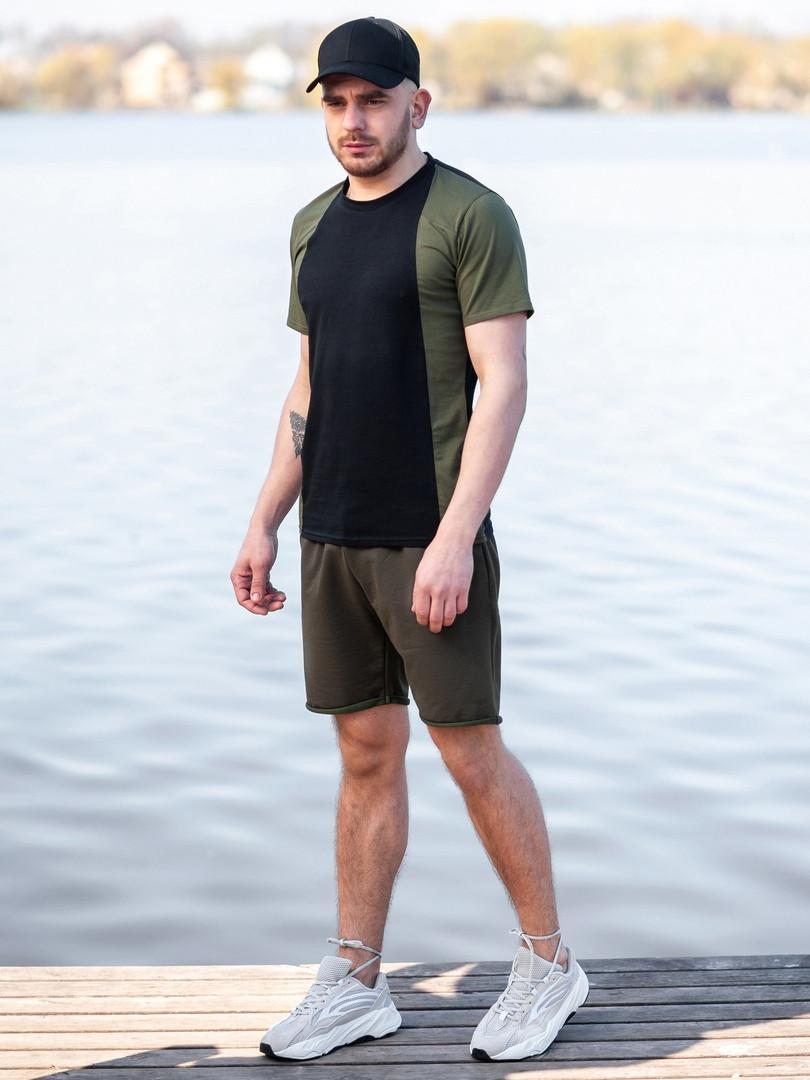 Мужской летний комплект BEZET (шорты+футболка), черно-хаки мужской спортивный комплект