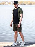 Мужской летний комплект BEZET (шорты+футболка), черно-хаки мужской спортивный комплект, фото 1
