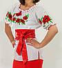Женская вышиванка с коротки рукавом с маками
