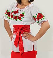 Женская вышиванка с коротки рукавом с маками , фото 1